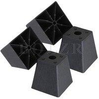4x Trapezoid Black Plastic Furniture Legs For Sofa 97 X 98 X 65mm BQLZR