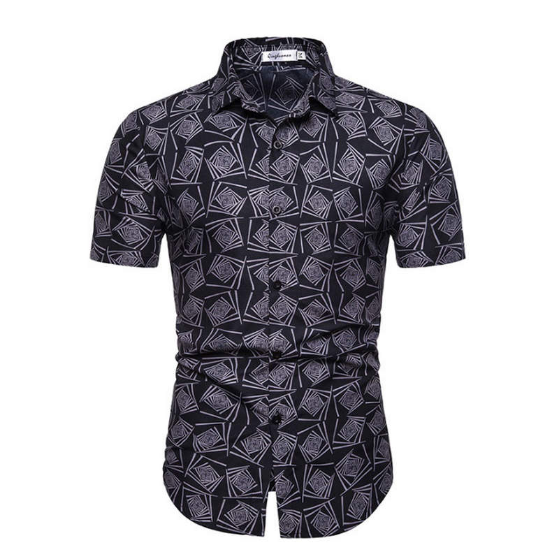 2019 Mens Hawaiian Shirt Male Casual Camisa Masculina Printed Beach Shirts Short Sleeve Brand Clothing Free Shipping