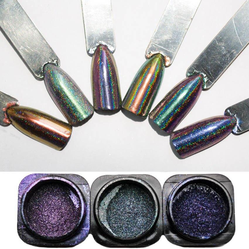 Nagelglitzer KöStlich 0,2 Gr/schachtel Laser Pfau Holographische Chameleon Nagel Glitter Pulver Spiegel Chrom Pigment Staub Maniküre Nail Art Dekorationen Sf3009