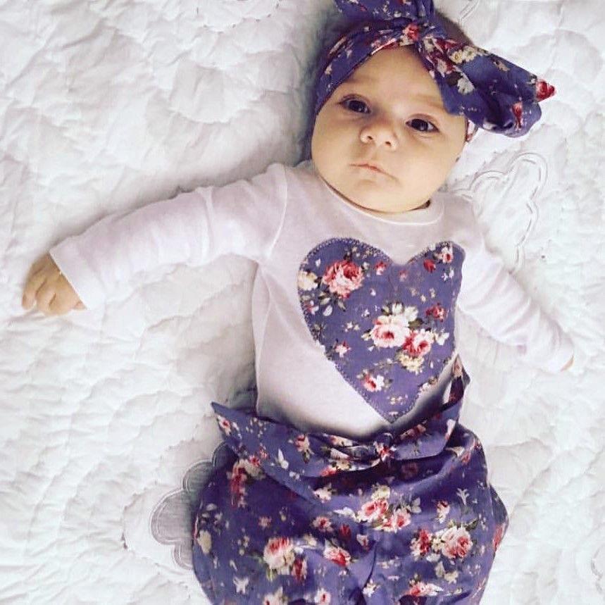 0-24M Kids Newborn Baby Girls HOT SALE Heart Pattern Bodysuit+Flower Pants+Headband 3PCS Fashion Outfits Set Clothes
