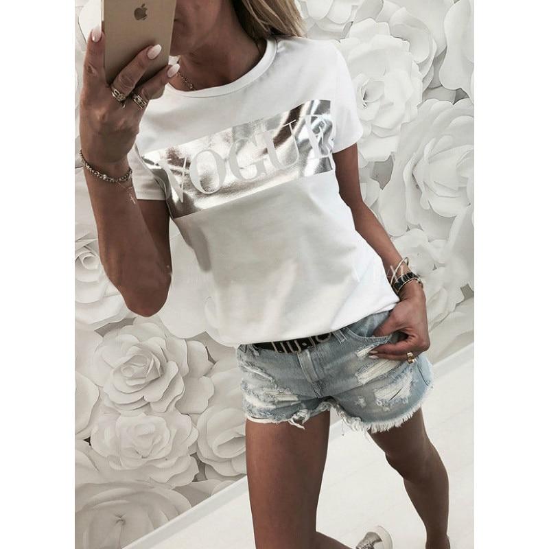 Women Vogue Print T shirt 2018 Womens Letter Top Summer Short sleeve Shirt Fashion Tshirt Cotton T shirts Ladies Tee
