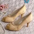 Wedopus Bordados Rendas Tecido de Ouro Sapatos de Festa Meados Saltos Do Dedo Do Pé Aberto Dropshipping