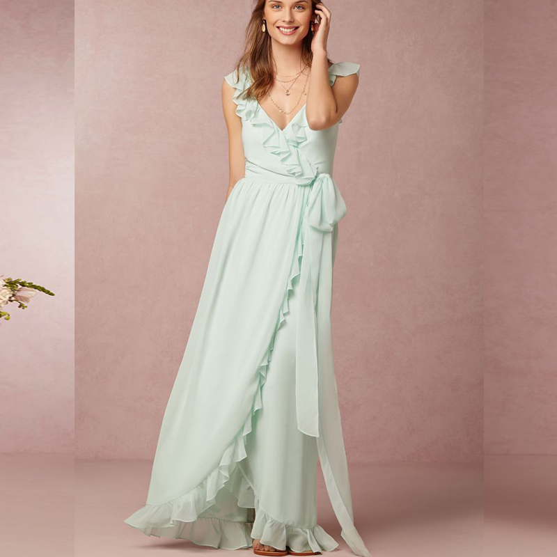 Blush Mint Green Chiifon Long Bridesmaid Dresses Beach V