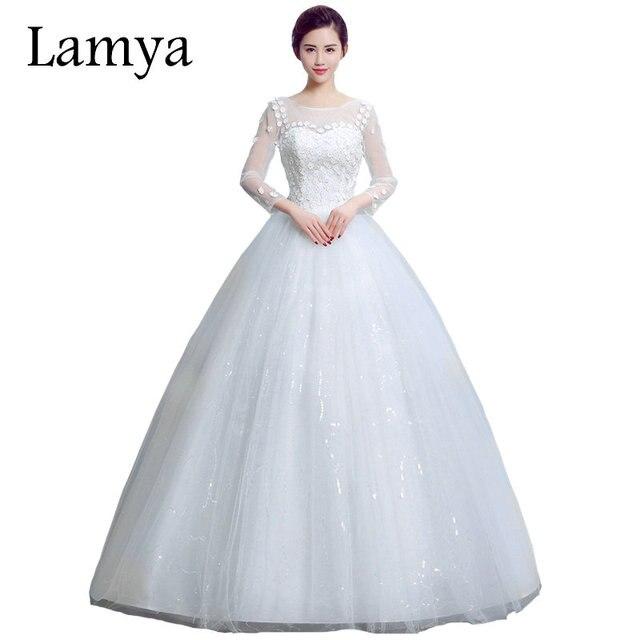 lamya 2018 en stock vestidos de novia con manga larga romántico