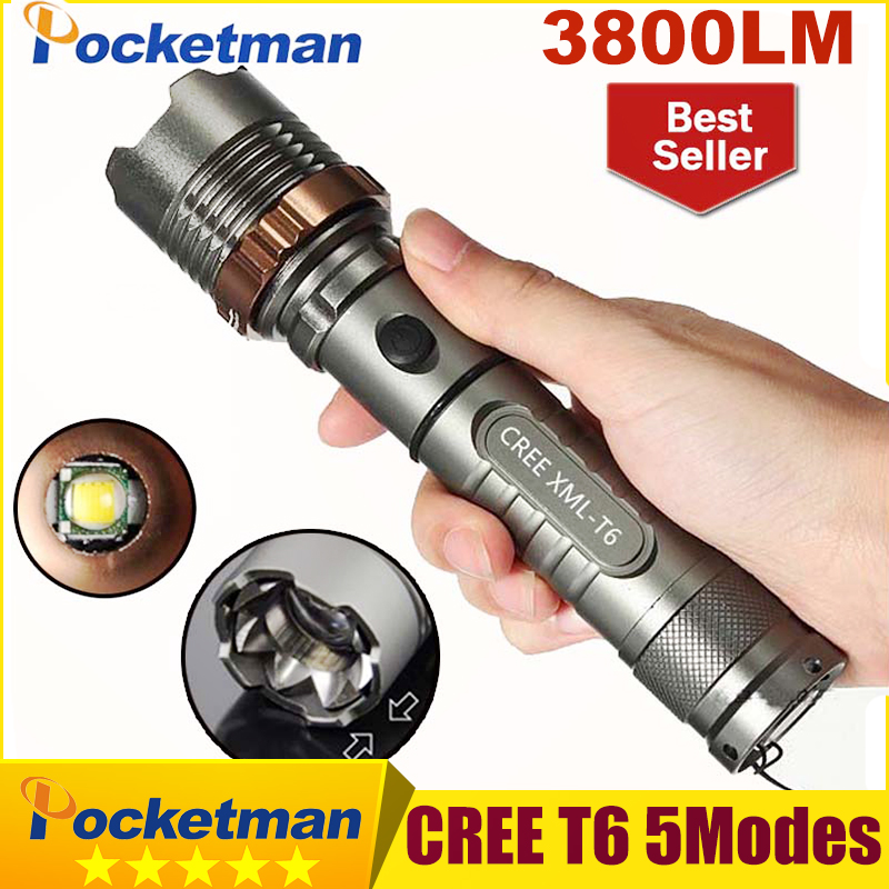 3800 Lumens CREE XM-L T6 5 modes LED Tactical Flashlight Torch Waterproof Lamp Torch Hunting Flash Light Lantern For Camping z93 nitecore mt10a tactical flashlight edc cree xm l2 u2 920 lumens led mini torch with red white light by 14500 aa battery