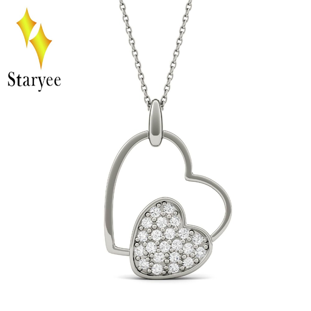 Real 18K 750 White Gold Moissanite Double Heart Pendant Lab Grown Moissanite Diamond Necklace Chain for Women Fine Jewelry yoursfs heart necklace for mother s day with round austria crystal gift 18k white gold plated