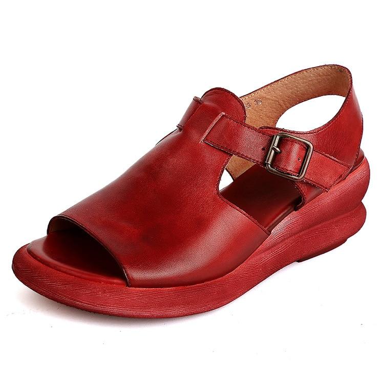 ФОТО 2017 Summer Genuine Leather Women Sandals Handmade Solid Platform Wedges Sling back Cowhide High Heel Shoes