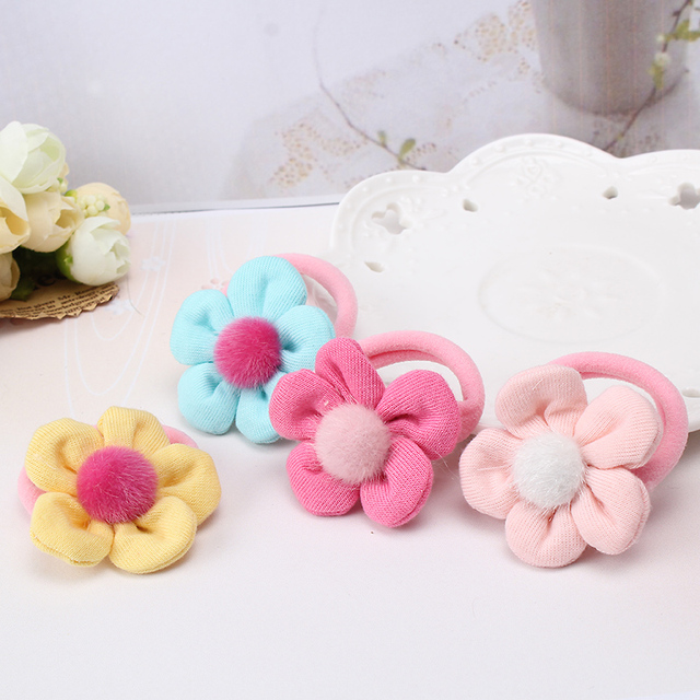New Baby Kids Rubber Headbands Tiara Fabric Flower Hair accessories Children Headwear Pompon Elastic Hair Band Girl Rubber Band