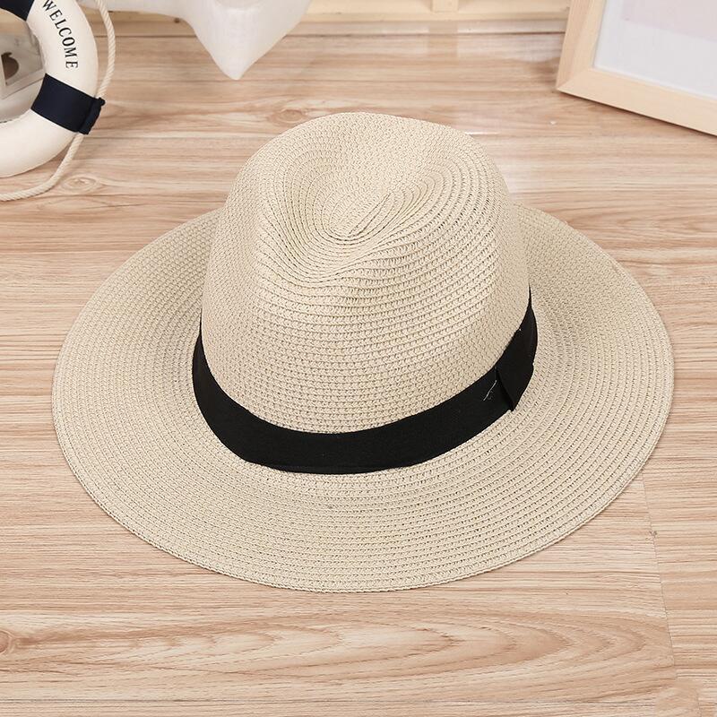 872cb915115 Summer Beach Women Hat Brim Ladies Sun Hat Casual Panama jazz Straw Hat Men  Cap Sun Visor Cap Male Sombrero Chapeau Femme