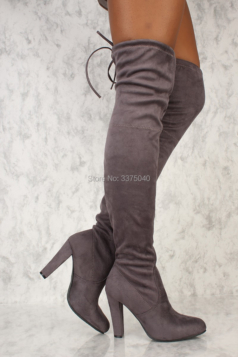 Women Stretch Suede Leather Thigh High Boots Sexy Fashion Over the Knee Boots High Heels Woman Shoes Black Gray women stretch suede leather slim thigh high boots sexy fashion over the knee boots high heels woman shoes black beige winered