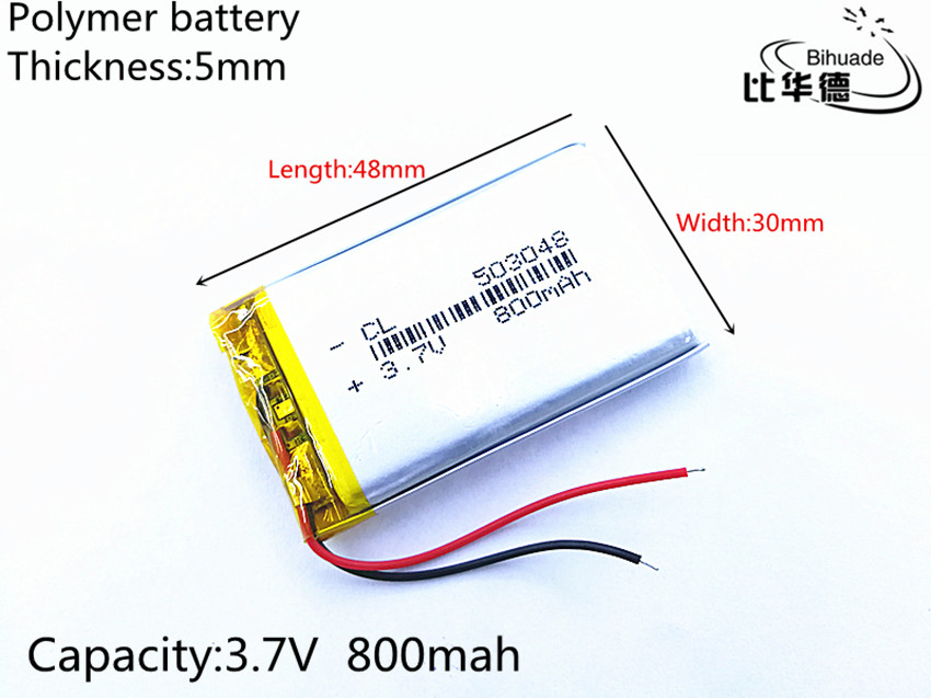 1pcs/lot Liter energy battery 3.7V 800mAh 503048 PLIB polymer lithium ion / Li-ion battery for dvr GPS mp4 mp3 liter energy battery 3 7v polymer lithium battery 401215 mp3 mp4 60mah bluetooth headset small toy sound