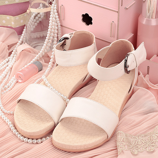 21ac1f731f0902 2015 summer new Sweety and cute women little wedges women shoes simple  solid women sandal breathable