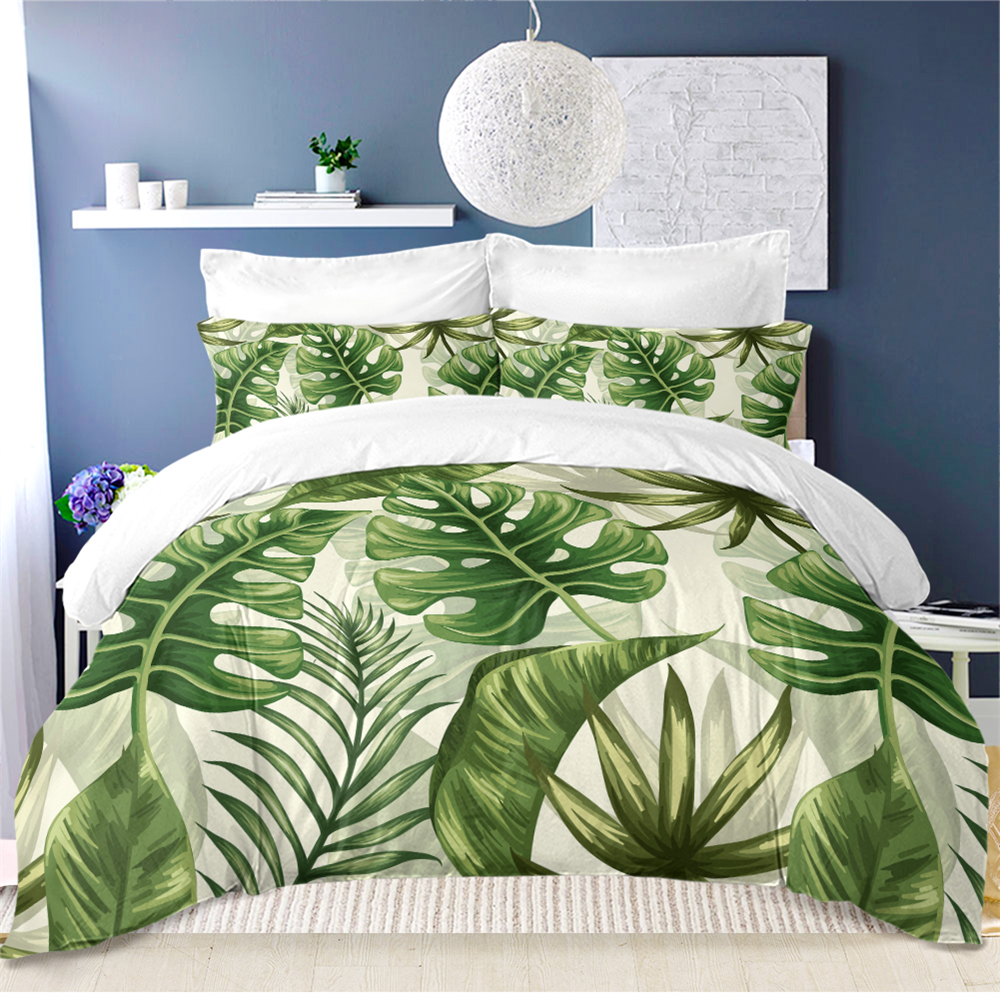 Tropical Palm Leaves Bedding Set Jungle Green Monstera Leaves Duvet Cover Set Twin Full Queen King Bedding Quilt Cover 3Pcs D35