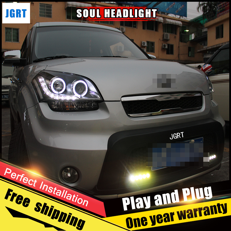 2PCS Car Style LED headlights for Kia Soul 2010-2012 for Soul head lamp LED DRL Lens Double Beam H7 HID Xenon bi xenon lens