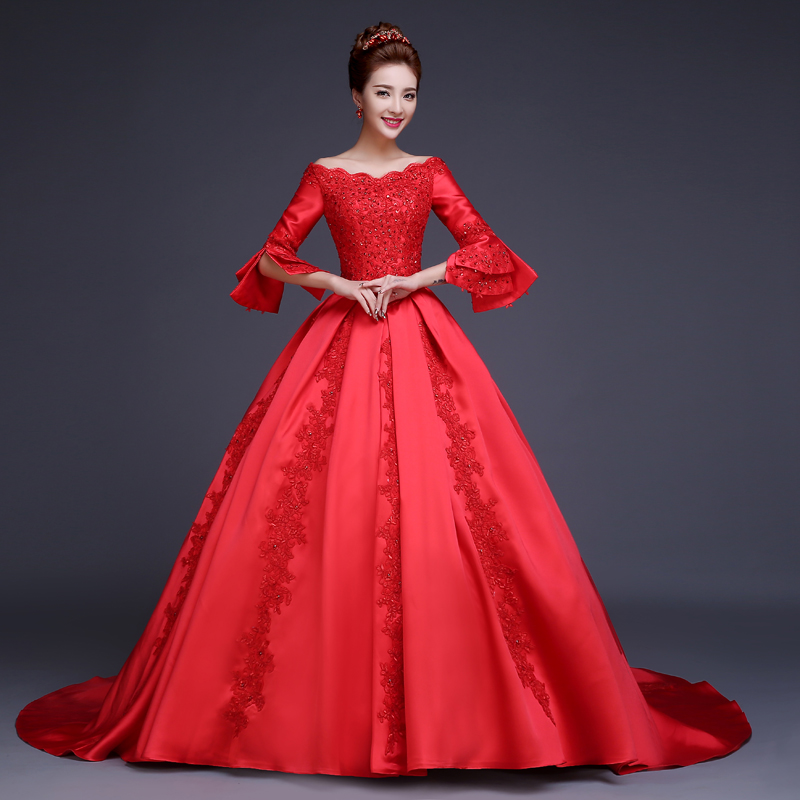Vintage red wedding dress ball gown with long sleeves boat for Red wedding dresses with sleeves