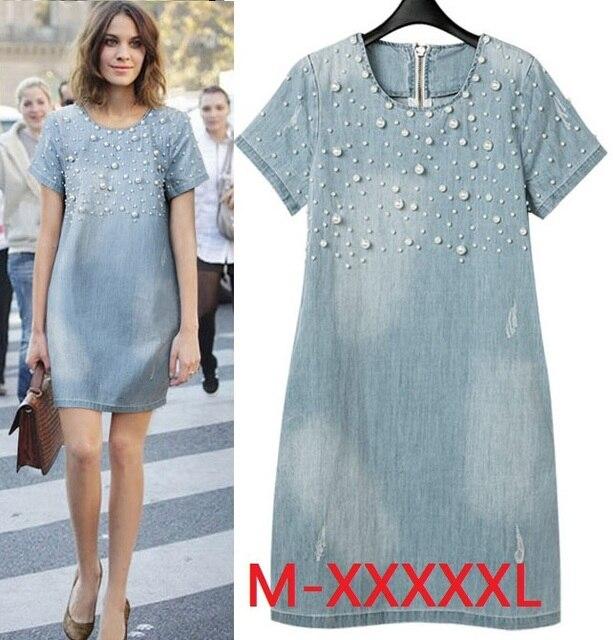 Новый 2014 Лето Повседневная Женщины Dress Моды Джинсы Платья Vestidos Платья Хлопка Плюс Размер М-5XL Женщины Одежда c19-c