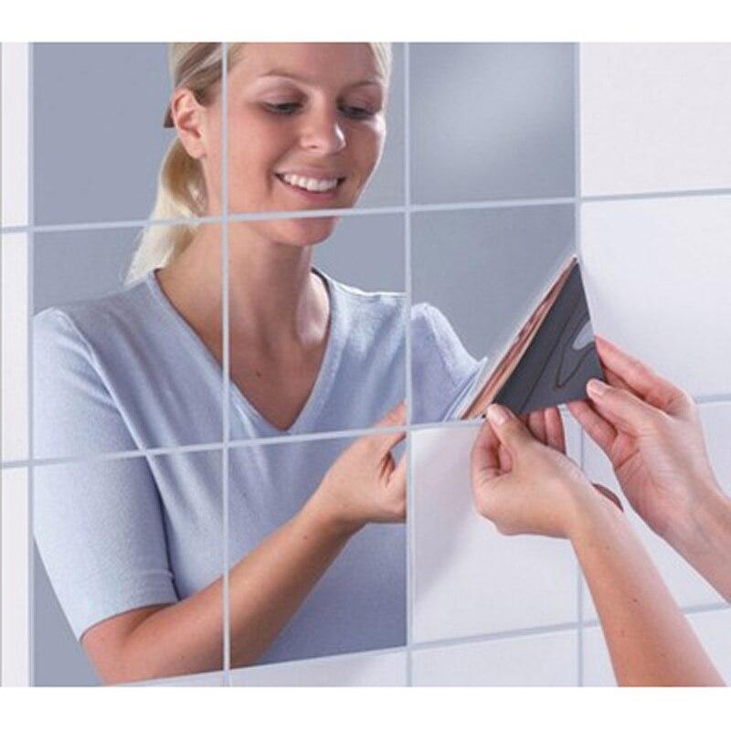 16 шт. зеркальная мозаика Наклейки на стену 0.1 мм толщиной самоклеющиеся самолет Наклейки на стену поверхности Водонепроницаемый Ванная ком...
