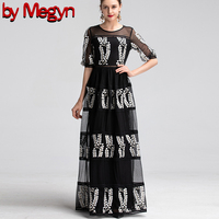 По Megyn 2019 леди макси платье с вышивкой с коротким рукавом Вечерние даже платье 2XL Большие размеры черный белый цветочный дизайнер