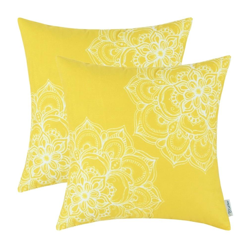 45cm X 45cm Yellow Profit Small Ambitious 2pcs Square Calitime Pillows Shell Cushion Cover Home Decor Short Plush Flowers 18 X 18