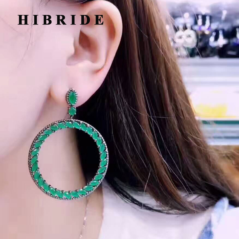 HIBRIDE Beautiful Bohemia Style Green Cubic Zircon Big Round Circle Women Drop Earrings For Wedding Party Jewelry Brincos E-426 цена