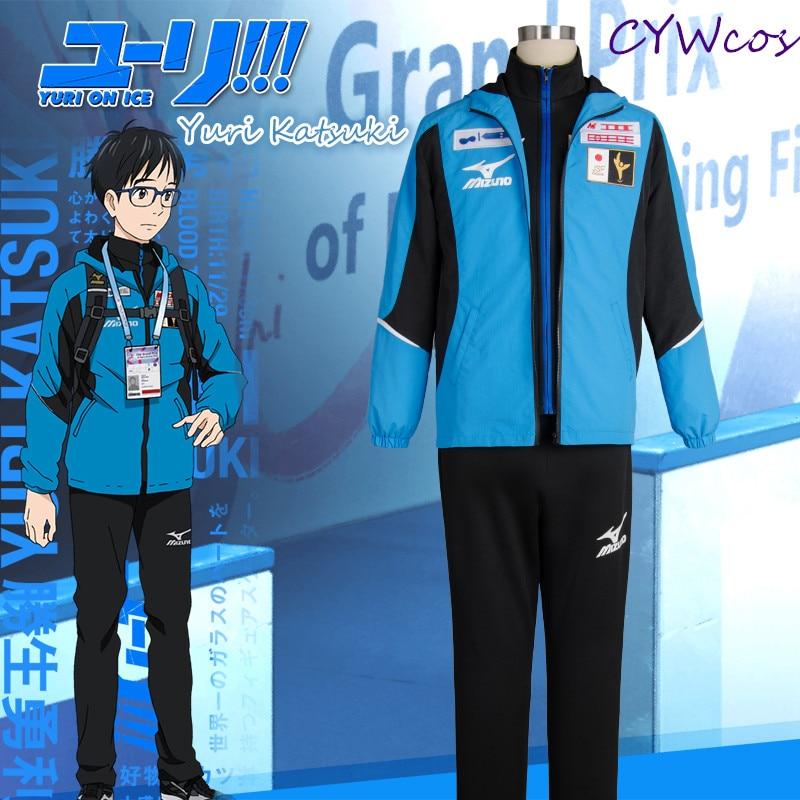 YURI!!! on ICE Cosplay Yuri Katsuki Japan Team Soprtswear Cosplay Costume Uniforms Sports Suits Hoodie Yuri Sports Costumes