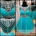 Azul do baile de curto impressionante rhinestone prom dress colher neck lace sheer ver através voltar a linha mini vestidos de baile 2017