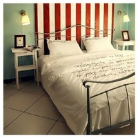 Embroidered white cotton 100% 4 piece set embroidery cotton brief bedding 1.8m bed White bed skirt export france high quality