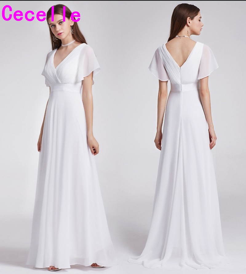 2019 Ruched Chiffon Ivory A-lline Beach Boho Long Modest   Bridesmaid     Dresses   With Sleeves V Neck Full Length   Bridesmaid   Gown