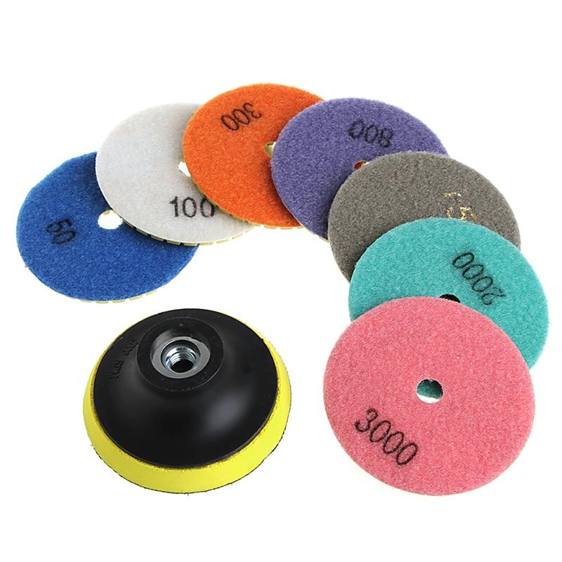 цена на 8Pcs 3/4 Diamond Polishing Pads Granite Marble Concrete Stone Grinding Discs W329