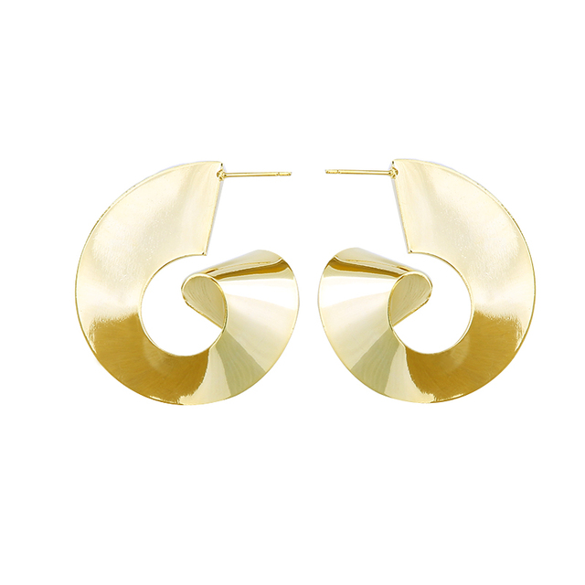 Lwong Gold Color Africa Jewelry Br Stud Earrings For Women Tribal Geometrical Large
