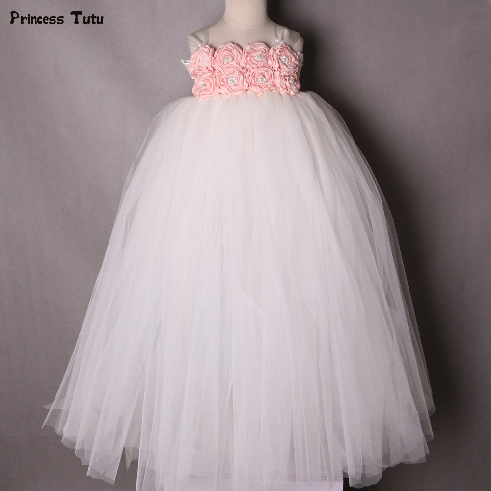Pink with Ivory Flower Girl Tutu Dress Princess Pageant Wedding Party Tulle Dress Girls Ball Gown Kids Flower Girl Dresses 1-14Y girls pageant dress for wedding prom party tutu princess dress sleeveless knee lenth ball gown bow flower girl dresses