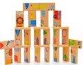 28 unidades Animal del cabrito del patrón dominó la primera infancia educativos bloques de construcción de juguetes WJ389
