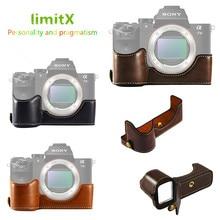 LimitX Funda de cuero Pu versión de apertura inferior, cubierta de medio cuerpo protectora, Base para Sony Alpha A7 III 3 / A7R III 3 cámara Digital