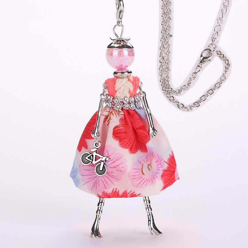 Ylwhjj marca 2018 nova bonito meninas boneca flor vestido colar para as mulheres fashion statement jóias do bebê maxi colar collier femme