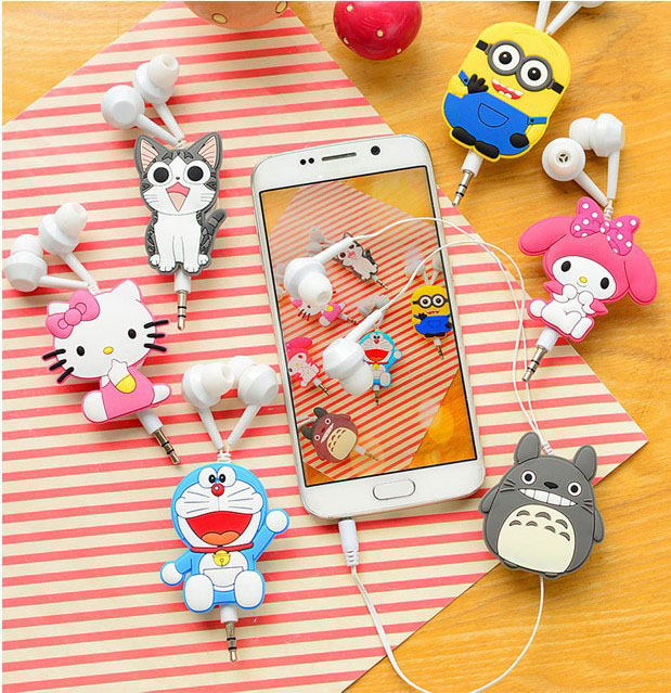 Good Gift 3.5mm Cartoon Earphone headphone headset earbuds retractable headphones For Samsung Xiaomi HTC MP3 MP4