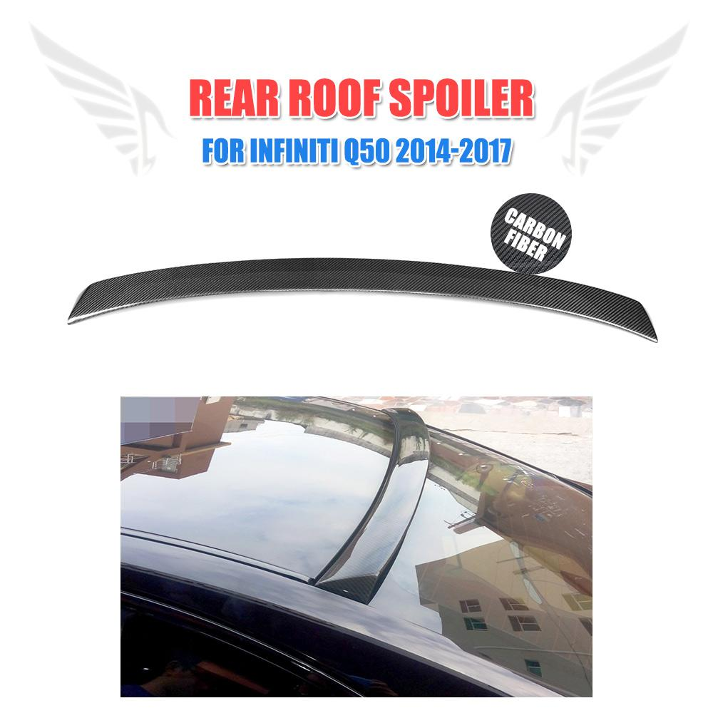 Carbon Fiber Rear Roof Spoiler Wing <font><b>Back</b></font> Window Spoiler for Infiniti Q50 2014-2017 Car Styling