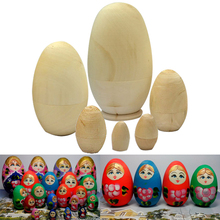 6pcs/ Set Lovely Unpainted DIY Blank Wooden Embryos Russian Nesting Matryoshka Dolls Toys for Kids Children Gift  YJS Dr 5pcs cute wooden dolls animal paint nesting babushka russian dolls children early education birthday matryoshka gift
