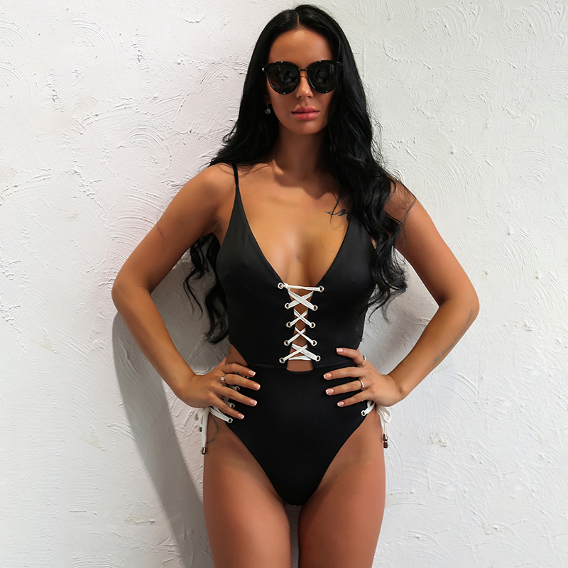ce55e2b1f2b Yissang 3 Color Sexy lace up bodysuit solid strap bathing suit rompers  womens jumpsuit hollow out maillot de bain drop shipping-in Bodysuits from  Women s ...