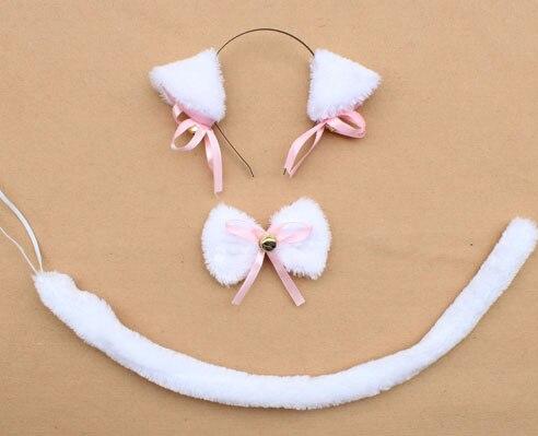 Повязка на голову с ушками neko в виде животных, белого, черного цвета, кота, тигра, аниме, хвоста 60 см, плюшевые перчатки, рождественские, пасхальные, вечерние, для взрослых и детей - Цвет: style 2