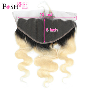 1B 613 Blonde Ombre Colored Full Frontal 13x6 Body Wave Brazilian Hair Pre Plucked Frontal Closure Bleached Knots With Baby Hair(China)