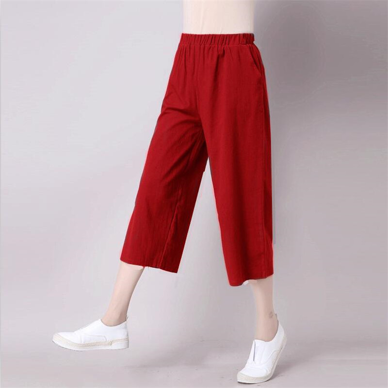 Summer Trousers Cotton Linen Straight Cool Woman   Pants   Casual Calf-length   Wide     Leg     Pants   2019 Plus Size M-7XL Vintage   Pants   Red
