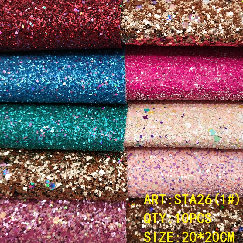 CLEAR STOCK 1SET(10PCS )20X20cm Alisa Glitter Cuero Sintetico Glitter Leather For DIY Hair Accessroies Craft STA26