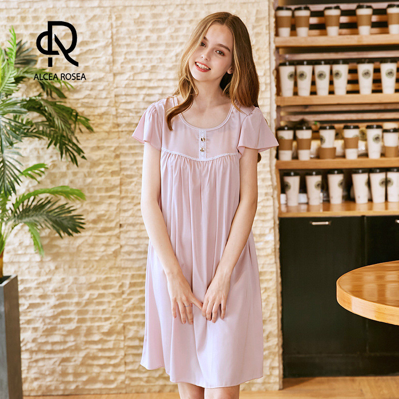 Alcea Rosea 2018 New Sleep Lounge Women Sleepwear Polyester Nightgowns Sexy Long Home Dress Nightdress With Lace for Lady AR417