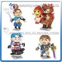 Volledige Set 4 stks Mini Qute Kawaii loz Anime hot telefoon game super hero cartoon diamant blok plastic bouwsteen educatief speelgoed