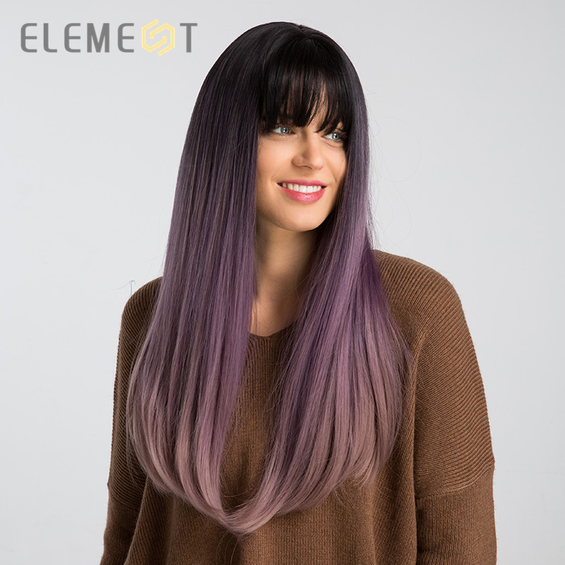 Element Long Straight Synthetic Wig With Bangs Dark Root Ombre Purple 26 Inch Fashion Cosplay Party Wigs For Women Free Shipping