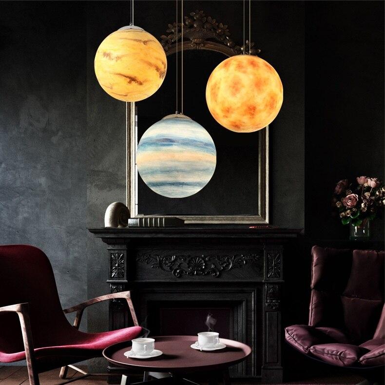 Image 5 - Nordic Creative Universe Planet Acrylic Pendant Light Moon Sun Earth Mars Uranus Mercury bedroom children room hunging lampPendant Lights   -