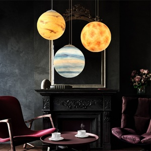 Image 5 - Nordic Creative Universe Planet Acrylic Pendant Light Moon Sun Earth Mars Uranus Mercury bedroom children room hunging lamp