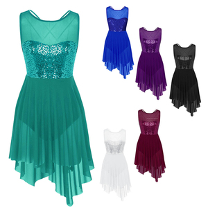 Image 2 - Women Lyrical Dresses Dance Costumes Ice Skating Modern Elegant Sequined Illusion Sweetheart Tank Top High low Performance Dress