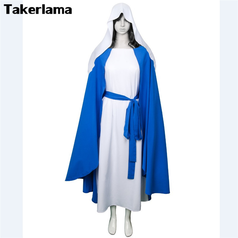 Takerlama Virgin Mary Costumes Mother of God Clergyman Jesus Clothing Cosplay Halloween Costumes Women Religious Party