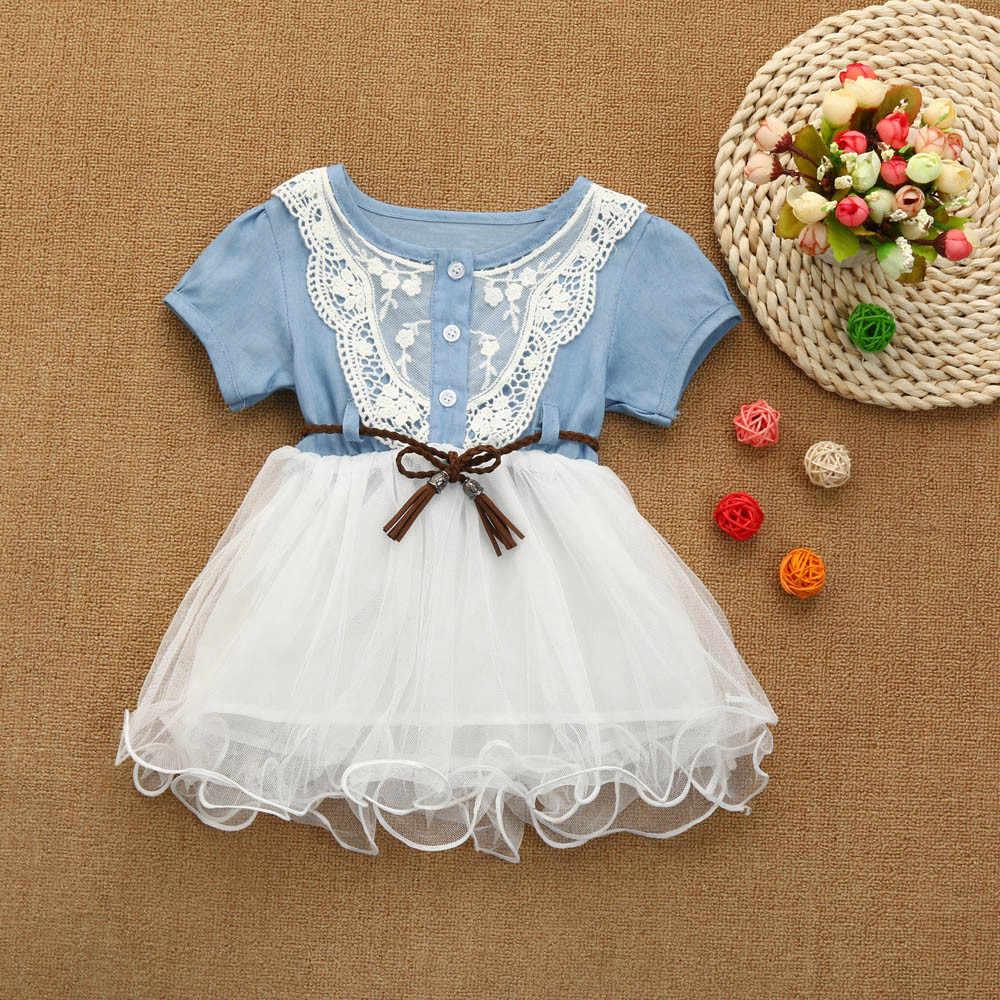 a374f47704321 Toddler Kids Baby Girls Denim Dress Lace Princess Tutu Dress Tuller Clothes  girl dresses kids casual 2019 vestidos infantil #sg